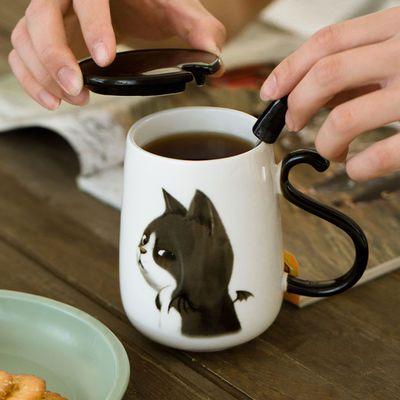 新款可爱猫咪马克杯情侣杯子陶瓷杯牛奶杯咖啡杯水杯创意咖啡杯大