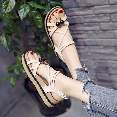 网红女凉鞋女士学生凉鞋2020新款夏季韩版原宿风平底百搭厚底凉鞋