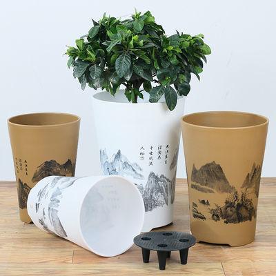 仿陶瓷高筒圆型山水敞口塑料树脂花盆大型绿植盆栽客厅高档大花盆