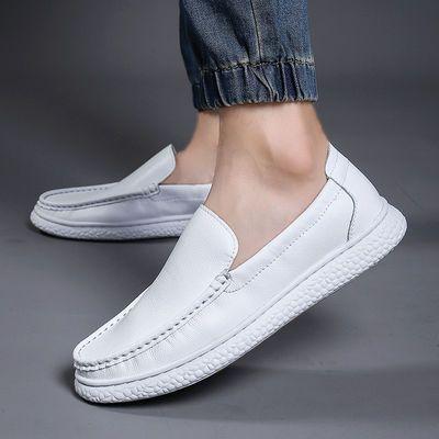 休闲皮鞋男豆豆鞋真皮学生潮流白色板鞋青年男士韩版潮小白鞋子男