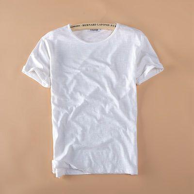 中国风日系短T恤男竹节棉纯棉纯色T恤宽松大码装夏天男士上装纯棉
