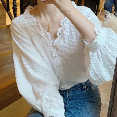 打底衫女 2020秋季新款小众设计感长袖V领衬衫小衫女装针织上衣潮