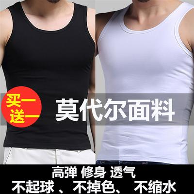 莫代尔男士 背心男运动青年紧身打底t恤加肥加大码中老年跨栏汗衫