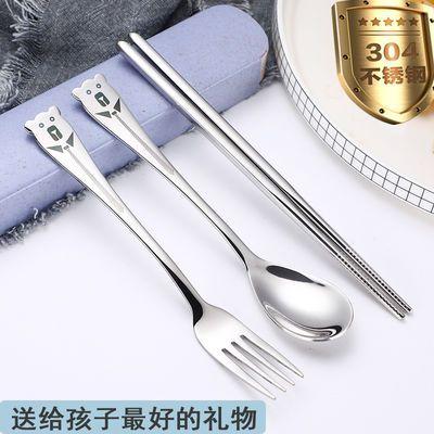 新款304不锈钢学生餐具 家用叉子勺子筷子套装 女生户外便携成人