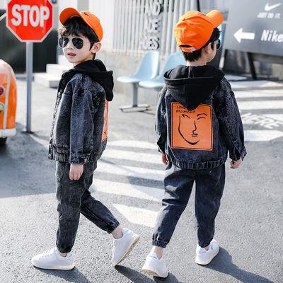童装男童牛仔套装2020新款儿童洋气男孩春秋款帅气韩版衣服俩件套【4月10日发完】