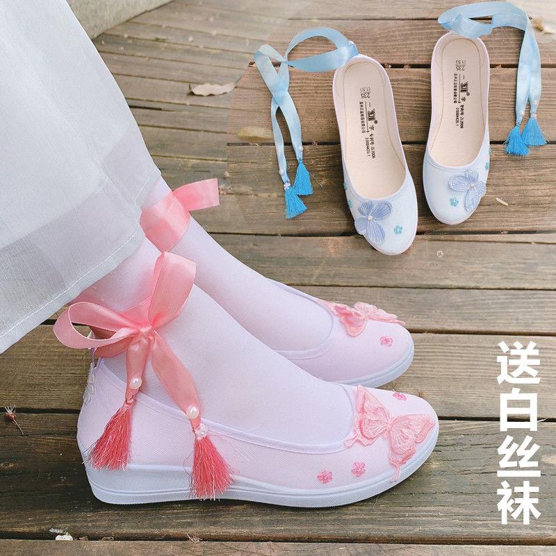 古风改良版汉服鞋子女平底坡跟刺绣帆布舞蹈鞋古装学生系带仙女鞋