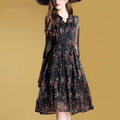 夏装时尚碎花雪纺衬衫连衣裙女2020新款V领七分袖中长款气质A字裙