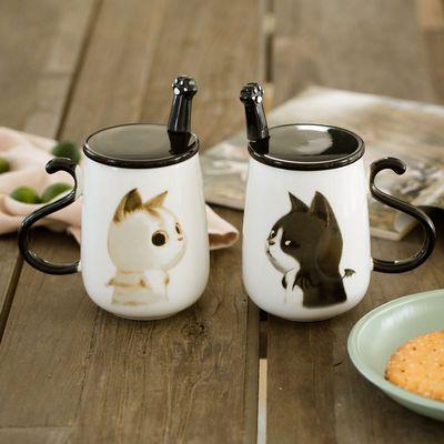 新款创意韩版猫咪陶瓷杯子情侣杯一对个性水杯牛奶马克杯大容量办