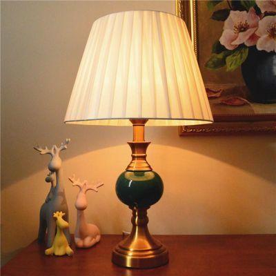 美式现代简约台灯卧室床头柜灯北欧复古温馨创意暖光陶瓷家用台灯