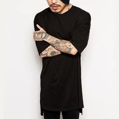 2020新款欧美夏季男士短袖嘻哈圆领宽松下摆开叉T恤打底衫上衣男