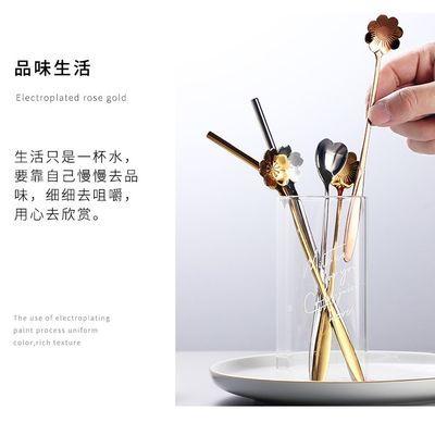 新款网红樱花咖啡勺不锈钢吸管创意日韩多彩金色长柄奶茶搅拌棒甜