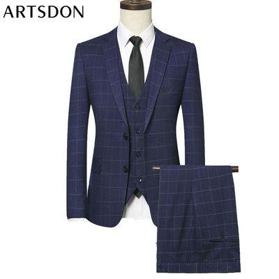 Artsdon/阿仕顿男士正装商务西服三件套都市潮流休闲修身西服套装