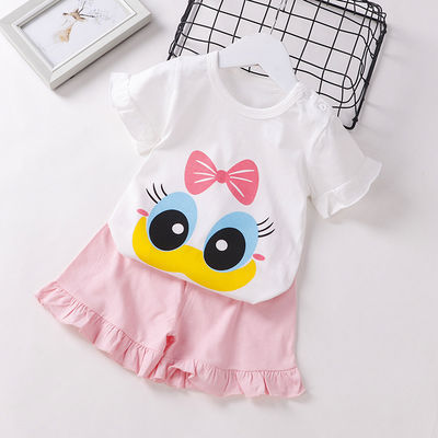 纯棉女童夏季新款T恤套装裤裙中小童肩扣夏装俩件套洋气花边0-5岁