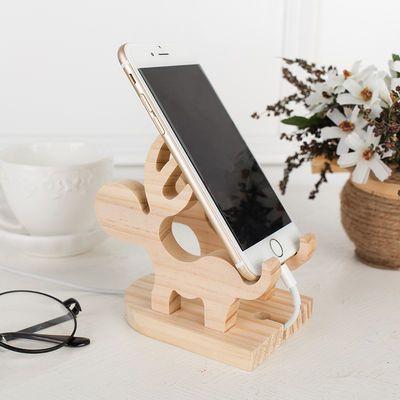 多功能直播手机支架桌面支撑通用懒人床头看电视ipad平板实木底座