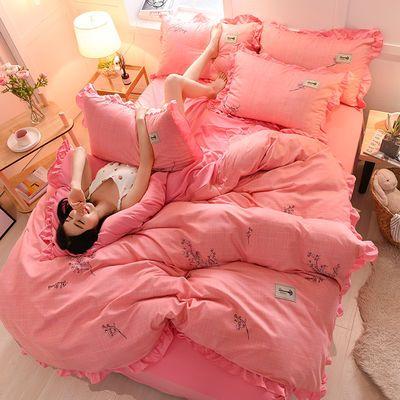 针织棉花边公主四件套针织棉被罩水洗棉床单被套三件套床上用品