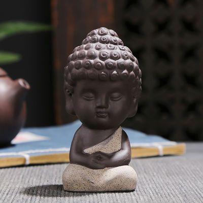 新款紫砂茶宠功夫四不小和尚小沙弥小佛像如来福禄寿可养达摩哥窑