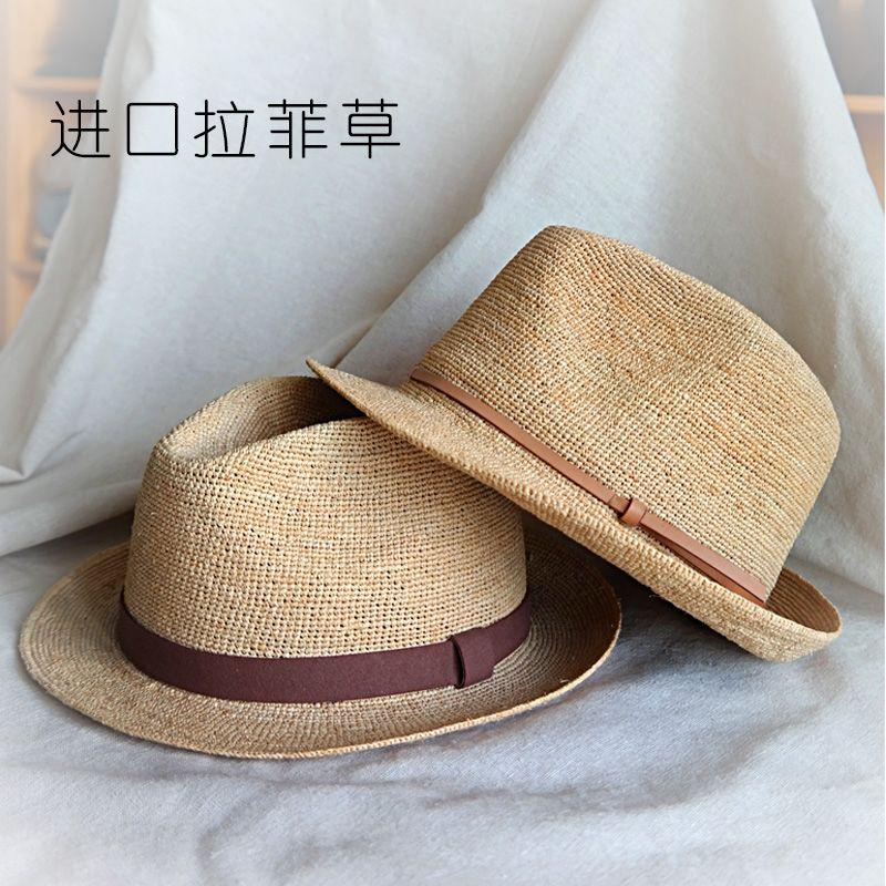 百帽王拉菲草草帽女英伦礼帽男绅士帽春夏季防紫外线遮阳帽太阳帽