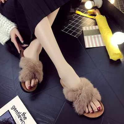 兔毛拖鞋女2019夏季新款韩版室内外穿百搭交叉真兔毛毛拖鞋女超蓬