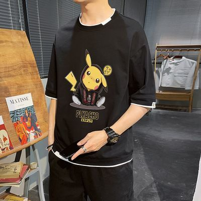 纯棉t恤男短袖宽松夏季上衣男士半袖新款潮流学生韩版皮卡丘衣服T