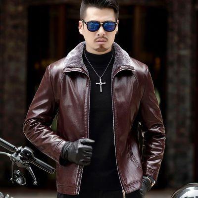 新款海宁皮衣男装中老年皮夹克皮毛一体加绒加厚冬装大码皮草外套