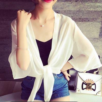 夏季大码韩版雪纺衫小披肩短外套夏天百搭开衫薄款坎肩防晒衣服女
