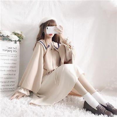 连衣裙2019新款女学生韩版宽松灯笼袖仙女裙斗蓬披肩外套秋季女装