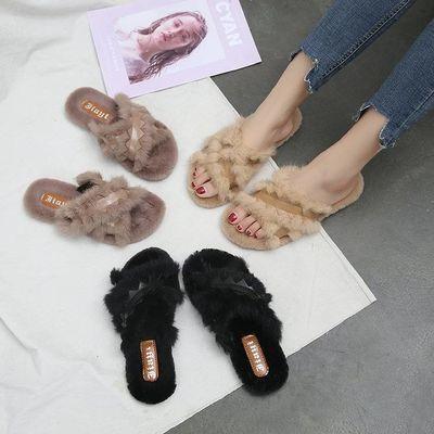 拖鞋女夏季外穿2020新款学生毛毛拖鞋韩版时尚浅口平底女士凉拖鞋