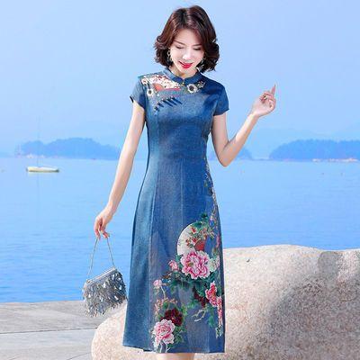 杭州品牌真丝女妈妈桑蚕丝连衣裙2020春夏季新款高端复古改良旗袍