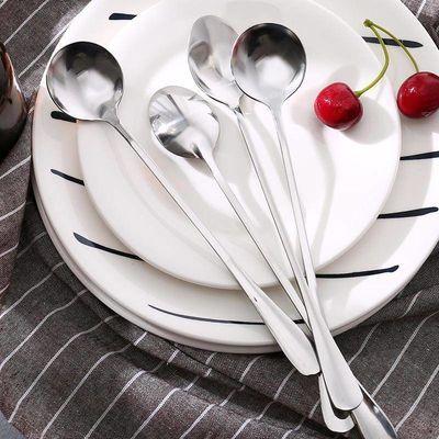 新款超值5个装长柄勺子加厚不锈钢咖啡勺尖头搅拌勺圆头调羹勺冰