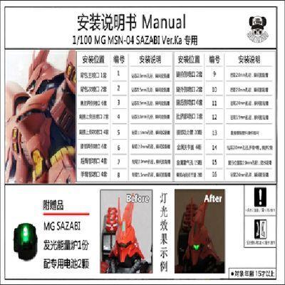 高达金属改件 MG ka 沙扎比 卡沙 金属补件 套装 豪华版 送Led灯