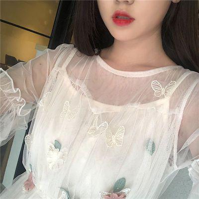 立体刺绣灯笼袖网纱仙女裙2020韩版新款潮七分袖学生连衣裙送吊带