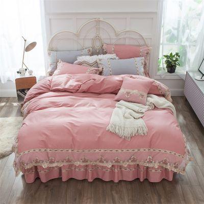 公主风纯棉床裙四件套全棉纯色被罩防骨床罩床套床上用品1.5米1.8