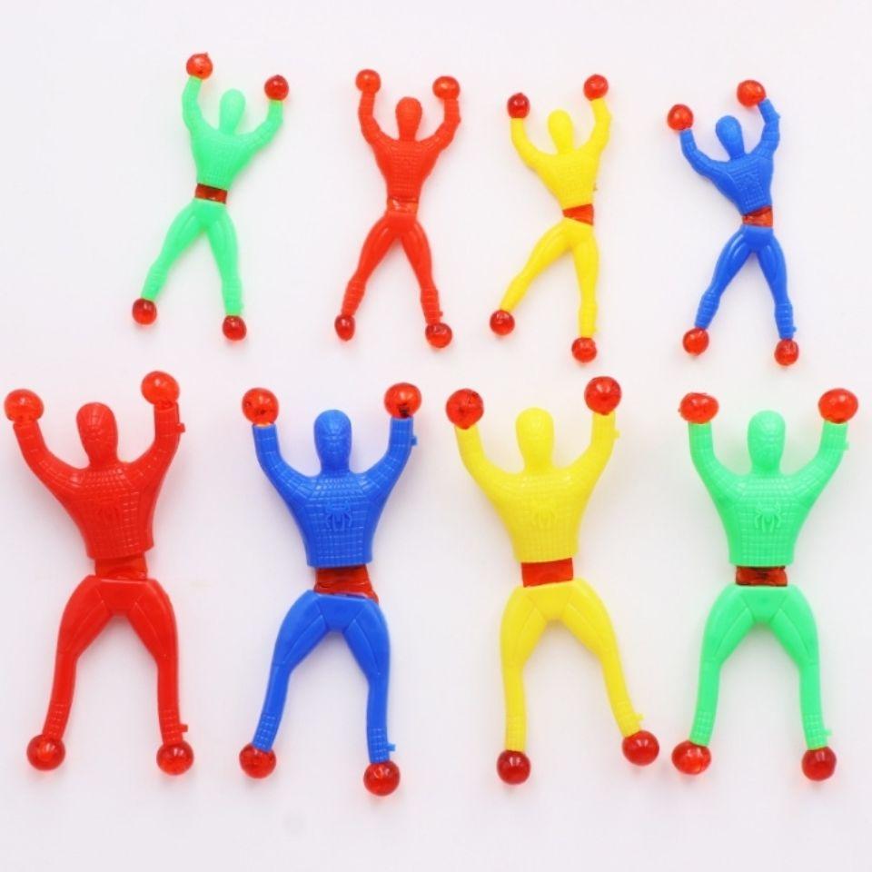 神奇爬墙翻跟斗蜘蛛侠小人创意小玩具怀旧粘墙小玩具攀岩小人好玩