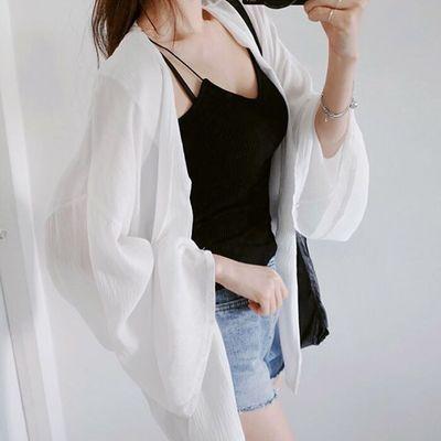 防晒衣女雪纺衫中长款韩版大码2019新款女装夏季小披肩外套女学生