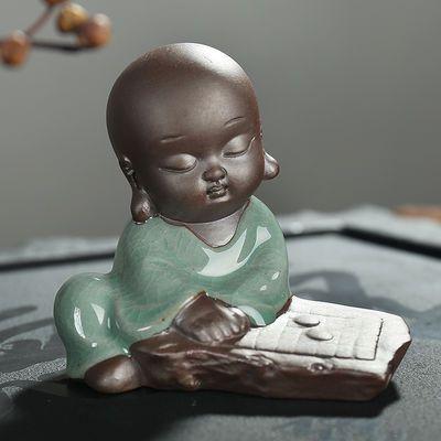 新款哥窑琴棋书画弥勒佛像小和尚紫砂小如来茶具开片茶宠多肉摆件