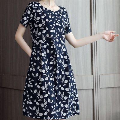包邮大码女装印花短袖连衣裙胖mm宽松显瘦中长款裙子女2020夏季新