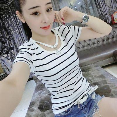 包邮夏季韩版大码女装胖MM短袖T恤三角形挂环宽松显瘦百搭女士打