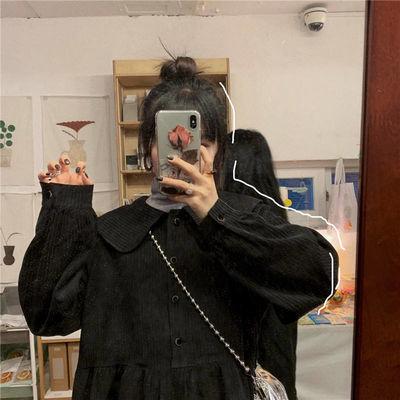 春季新款娃娃领连衣裙女学生韩版宽松百搭显瘦中长款灯笼袖a字裙