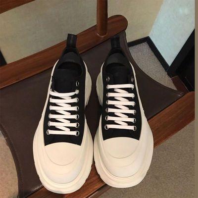 小白鞋女2020年麦昆新款厚底增高防水台老爹鞋帆布运动休闲松糕鞋