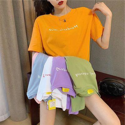 糖果色字母印花2020女式短袖T恤女学生韩版宽松夏季女装ins风百搭