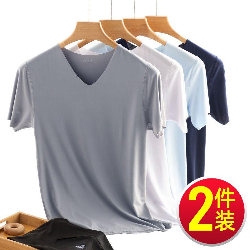 男士短袖t恤男冰丝2021新款上衣白色打底衫白t半袖纯色体恤衫夏季