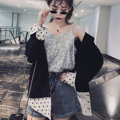 夏装2020新款性感闪闪亮片V领吊带背心女短款宽松上衣外穿打底衫