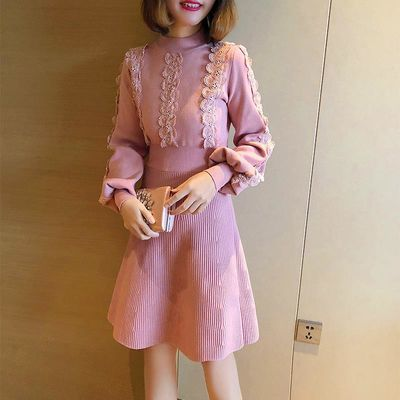 蕾丝针织连衣裙半高领灯笼袖长袖显腰甜美毛衣打底裙2020春季新款