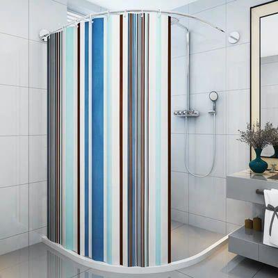 弧形杆L型U形浴帘伸缩杆浴帘套装免打孔卫生间浴帘隔断浴室防水布