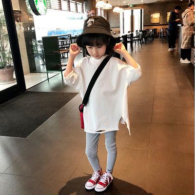 女童白色T恤2020春装新款宽松韩版中大童上衣儿童中长款打底衫潮