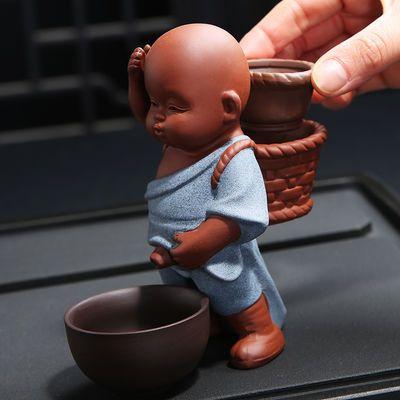 新款新品紫砂喷水茶宠摆件变色陶瓷小和尚 撒尿哥窑茶玩具配件人