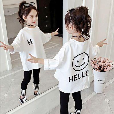 女童中大童春秋装2019新款韩版儿童时髦洋气长袖T恤小女孩中长款