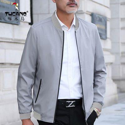 2020新款男装春季夹克中青年男士外套爸爸春装立领休闲韩版上衣男