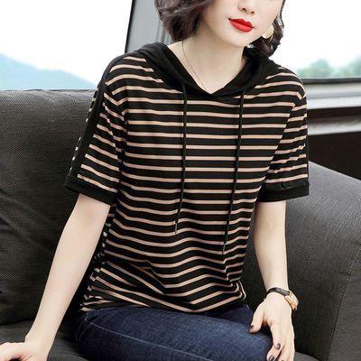 时尚不起球t恤女短袖2020新款韩版减大码宽松条纹连帽夏季上衣潮