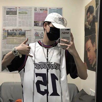 15号球衣男韩国ins夏季运动嘻哈假两件背心潮流短袖T恤男女篮球